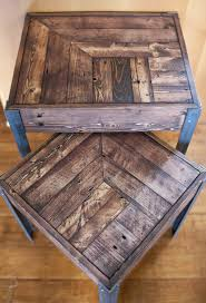 nesting tables etsy pallet wood and metal leg nesting tables