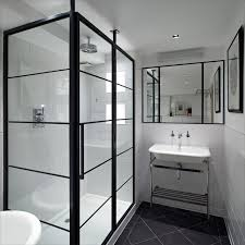 Houzz Black And White Bathroom Black Shower Frame Houzz