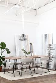 Round Table Reno Hairpin Leg Table And Bench With Modern Chairs My Dream Set Up