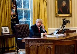 White House Oval Office Desk by Trump Kept Sanctions Out Of Putin Chat Tried To Assure Other
