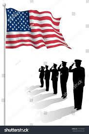 A American Flag Pictures Soldiers Saluting Front American Flag Stock Vector 115774387