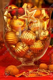 glass vase with ornaments table decoration stock photo