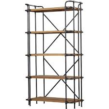 wood iron etagere bookcase