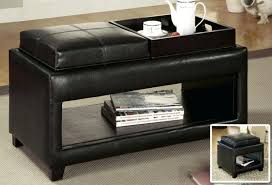ottoman black leather storage ottoman with 4 trays