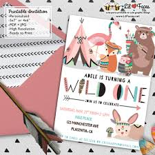 wild one first birthday party invitations diy tribal