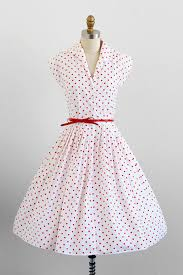 vintage 1950s dress 50s dress white and orange polka dot dress
