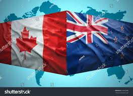 Map Of Red And Blue States by Waving New Zealand Canadian Flags Political Stock Illustration