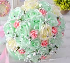 artificial wedding bouquets cheap mint bridal wedding bouquet wedding decorations artificial