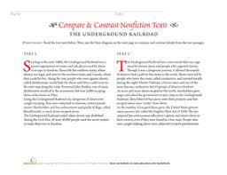 compare u0026 contrast nonfiction texts the underground railroad