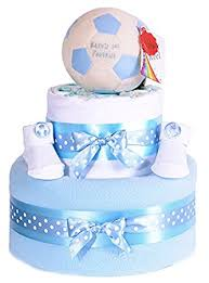 my first football footy star foot ball blue boys nappy cake baby