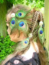 tribal fusion belly peacock feather fascinator with gorgeous