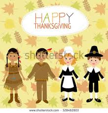 Thanksgiving Costumes Child Pilgrim Indian Happy Thanksgiving Greeting Card Stock Vector 489512233