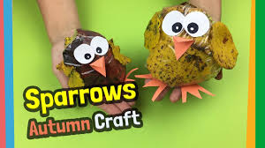 easy diy ideas for autumn craft with kids sparrows made of