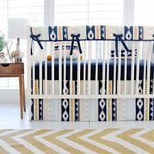 aztec crib bedding baby boy bedding navy and gold nursery