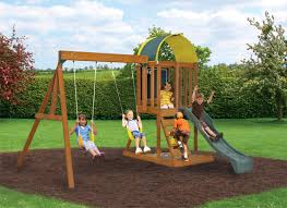 Swing Sets For Small Backyard by Swingset Designs Andorra Wooden Swing Set By Big Backyard
