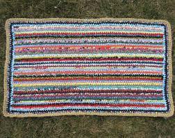 Rag Rugs For Kitchen Crochet Rag Rug Etsy