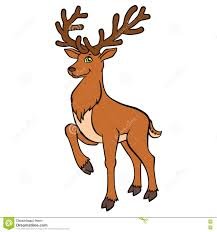 cartoon wild animals for kids cure deer with great horns stock