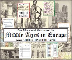 middle ages educational materials student handouts