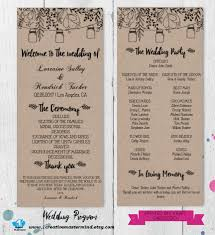 jar wedding programs diy rustic wedding program template printable editable program