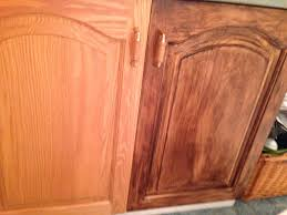 kitchen cabinet stain colors on oak old oak cabinet on left and stained with minwax gel stain color
