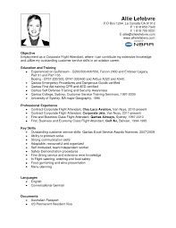 Security Job Objectives For Resumes by Sample Flight Attendant Resume Gallery Creawizard Com