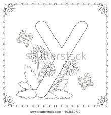 alphabet coloring page capital letter y stock vector 649288216