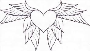 Hearts With Wings - easy drawings of broken hearts with wings wing pencil and in