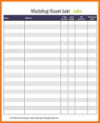 Wedding Itinerary Template For Guests Wedding Guest List Template Free Wedding Guest List Spreadsheet