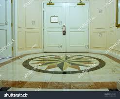 anteroom white double door mosaic marble stock photo 38696803