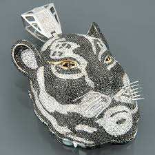 custom necklace pendants custom 10k gold diamond tiger pendant necklace 16 78ct