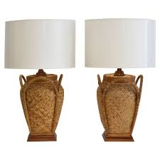 Rattan Baskets by Pair Of Woven Rattan Basket Table Lamps At 1stdibs