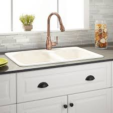 Cayton  Offset DoubleBowl Cast Iron DropIn Kitchen Sink - Cast iron kitchen sinks