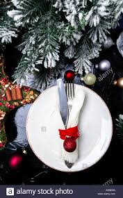 christmas table place setting holidays background white plate