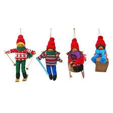 fabric ski doll ornament set 4ct wondershop target