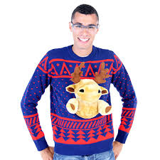 3d sweater navy 3d sweater with stuffed moose