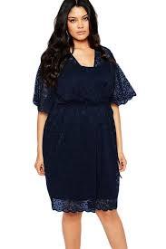aliexpress com buy women plus size navy blue lace wrap dress