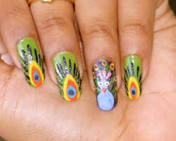 Nail Art Designs July 4 Peacock Nail Painting Ideas Nationtrendz Com