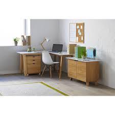 Office Works Computer Desk Linear Corner Workstation Oak And White Officeworks Study