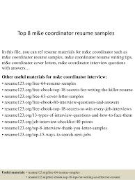top 8 m u0026e coordinator resume samples