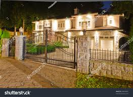 Luxury Home Design Show Vancouver Luxury House Gates Suburbs Dusk Vancouver Stock Photo 94699987