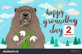 happy groundhog day greeting card hand stock vector 565379710