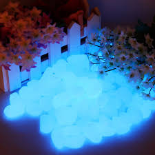 luminous skyblue pebbles stones glow in the decoration garden