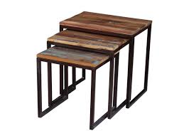 Metal And Wood Sofa Table by Old Reclaimed Wood Metal Nesting Table Timbergirl