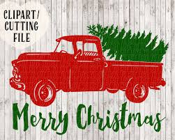 vintage truck with christmas tree clipart clipartxtras
