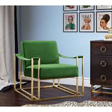 baxter arm chair in cream green velvet with silver base or gold