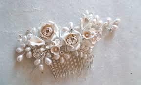 pearl hair comb bridal hair comb purple flower pearl hair comb wedding hair comb