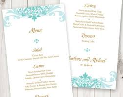 printable wedding menu etsy