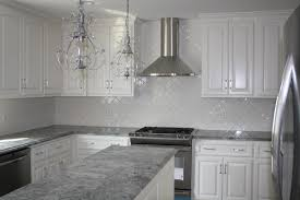 great idea of grey kitchen countertops with beautiful backsplash