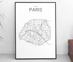 Map Poster Downloadable Art Print Printable Poster City Map Paris