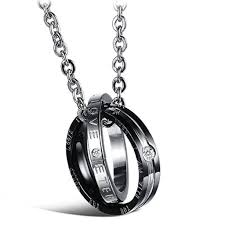 silver ring pendant necklace images Matching set his amp hers men women couples black silver rose jpg